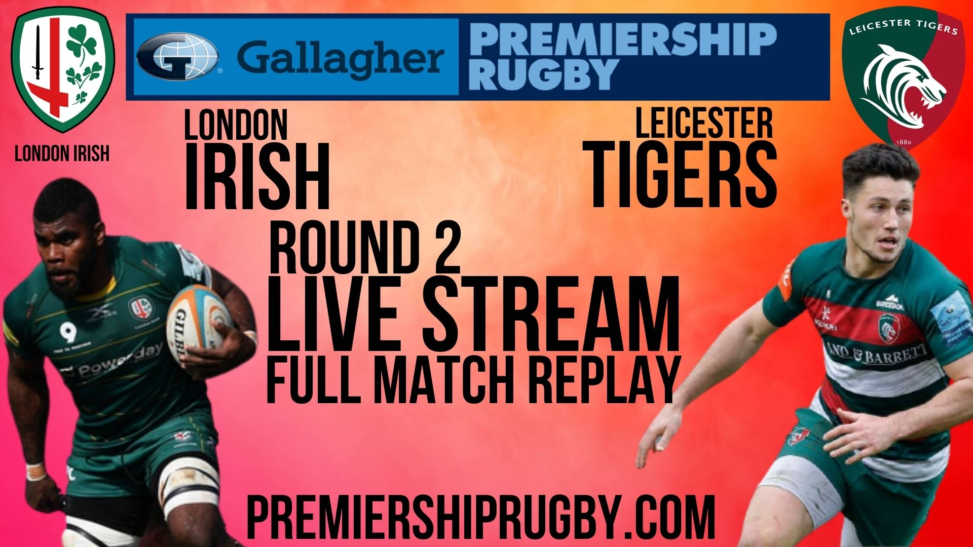 London Irish vs Leicester Tigers Live Stream 2020-21 | Premiership Rugby Round 2 slider